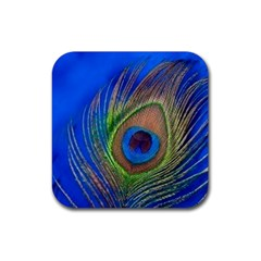 Blue Peacock Feather Rubber Square Coaster (4 Pack)  by Amaryn4rt
