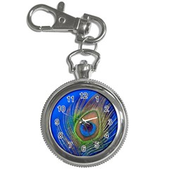Blue Peacock Feather Key Chain Watches by Amaryn4rt