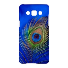 Blue Peacock Feather Samsung Galaxy A5 Hardshell Case  by Amaryn4rt