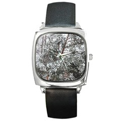 Winter Fall Trees Square Metal Watch by ansteybeta