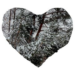 Winter Fall Trees Large 19  Premium Heart Shape Cushions by ansteybeta