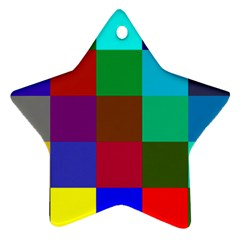 Chessboard Multicolored Star Ornament (two Sides) by Jojostore