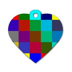 Chessboard Multicolored Dog Tag Heart (two Sides) by Jojostore