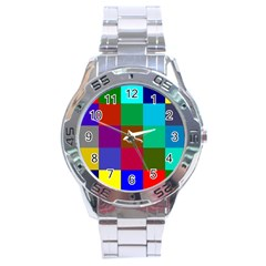 Chessboard Multicolored Stainless Steel Analogue Watch by Jojostore