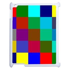 Chessboard Multicolored Apple Ipad 2 Case (white) by Jojostore