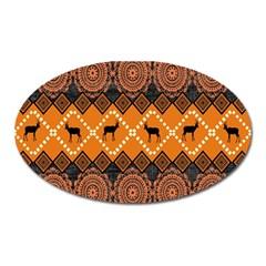 African Pattern Deer Orange Oval Magnet by Jojostore