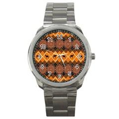 African Pattern Deer Orange Sport Metal Watch by Jojostore