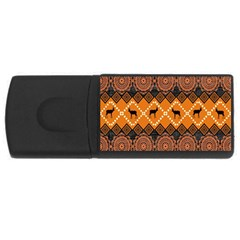 African Pattern Deer Orange Usb Flash Drive Rectangular (4 Gb) by Jojostore