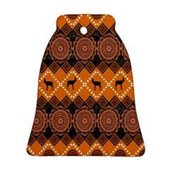 African Pattern Deer Orange Ornament (bell) by Jojostore