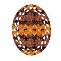 African Pattern Deer Orange Oval Filigree Ornament (two Sides) by Jojostore