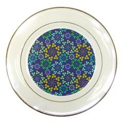 Color Variationssparkles Pattern Floral Flower Purple Porcelain Plates by Jojostore