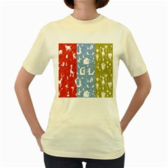 Deer Animals Swan Sheep Dog Whale Animals Flower Women s Yellow T Shirt