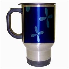 Flower Floral Blue Travel Mug (silver Gray) by Jojostore