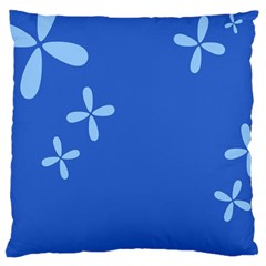 Flower Floral Blue Large Cushion Case (Two Sides)
