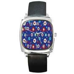 Flower Floral Flowering Leaf Blue Red Green Square Metal Watch by Jojostore