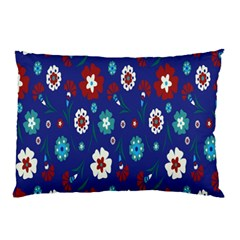 Flower Floral Flowering Leaf Blue Red Green Pillow Case by Jojostore