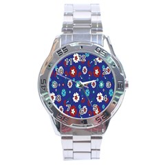 Flower Floral Flowering Leaf Blue Red Green Stainless Steel Analogue Watch by Jojostore