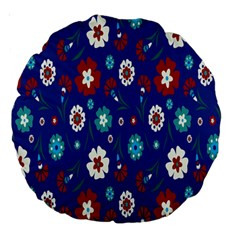Flower Floral Flowering Leaf Blue Red Green Large 18  Premium Round Cushions by Jojostore