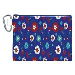 Flower Floral Flowering Leaf Blue Red Green Canvas Cosmetic Bag (xxl) by Jojostore