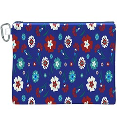 Flower Floral Flowering Leaf Blue Red Green Canvas Cosmetic Bag (XXXL)