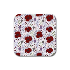 Flower Floral Rose Leaf Red Purple Rubber Square Coaster (4 Pack)  by Jojostore