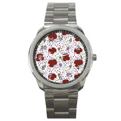 Flower Floral Rose Leaf Red Purple Sport Metal Watch by Jojostore