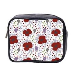 Flower Floral Rose Leaf Red Purple Mini Toiletries Bag 2 Side by Jojostore