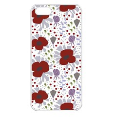 Flower Floral Rose Leaf Red Purple Apple Iphone 5 Seamless Case (white) by Jojostore
