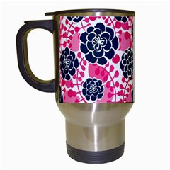 Flower Floral Rose Purple Pink Leaf Travel Mugs (white) by Jojostore