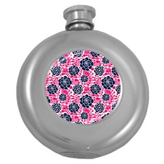 Flower Floral Rose Purple Pink Leaf Round Hip Flask (5 Oz) by Jojostore