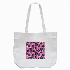 Flower Floral Rose Purple Pink Leaf Tote Bag (white) by Jojostore