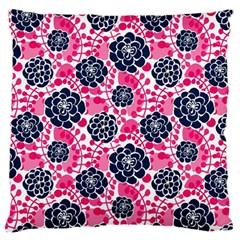 Flower Floral Rose Purple Pink Leaf Large Flano Cushion Case (one Side) by Jojostore