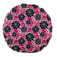 Flower Floral Rose Purple Pink Leaf Large 18  Premium Flano Round Cushions by Jojostore