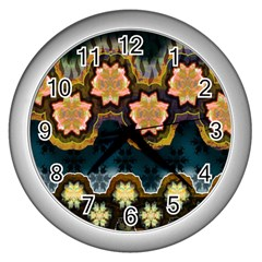 Ornate Floral Textile Wall Clocks (silver)  by Jojostore