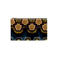 Ornate Floral Textile Cosmetic Bag (small)  by Jojostore