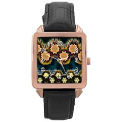 Ornate Floral Textile Rose Gold Leather Watch  by Jojostore