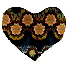 Ornate Floral Textile Large 19  Premium Flano Heart Shape Cushions by Jojostore