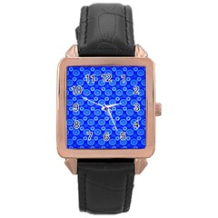 Neon Circles Vector Seamles Blue Rose Gold Leather Watch  by Jojostore
