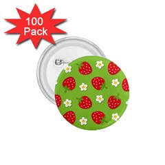 Strawberries Flower Floral Red Green 1.75  Buttons (100 pack)  by Jojostore