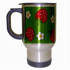 Strawberries Flower Floral Red Green Travel Mug (silver Gray) by Jojostore