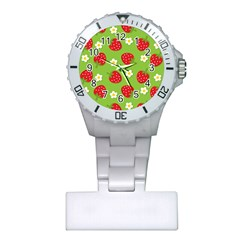 Strawberries Flower Floral Red Green Plastic Nurses Watch by Jojostore