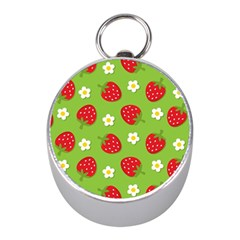 Strawberries Flower Floral Red Green Mini Silver Compasses by Jojostore