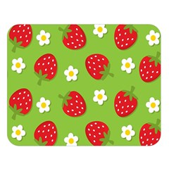 Strawberries Flower Floral Red Green Double Sided Flano Blanket (large)  by Jojostore