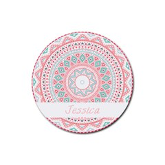 pattern tribal blue pink Drink Coaster (Round)