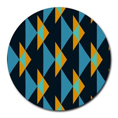 Yellow Blue Triangles Pattern                                                        			round Mousepad by LalyLauraFLM