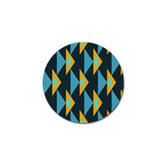 Yellow Blue Triangles Pattern                                                        			golf Ball Marker by LalyLauraFLM