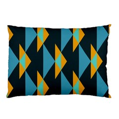 Yellow Blue Triangles Pattern                                                        pillow Case by LalyLauraFLM