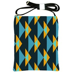 Yellow Blue Triangles Pattern                                                        			shoulder Sling Bag by LalyLauraFLM