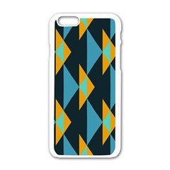 Yellow Blue Triangles Pattern                                                       			apple Iphone 6/6s White Enamel Case by LalyLauraFLM