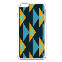 Yellow Blue Triangles Pattern                                                       apple Iphone 6 Plus/6s Plus Enamel White Case by LalyLauraFLM